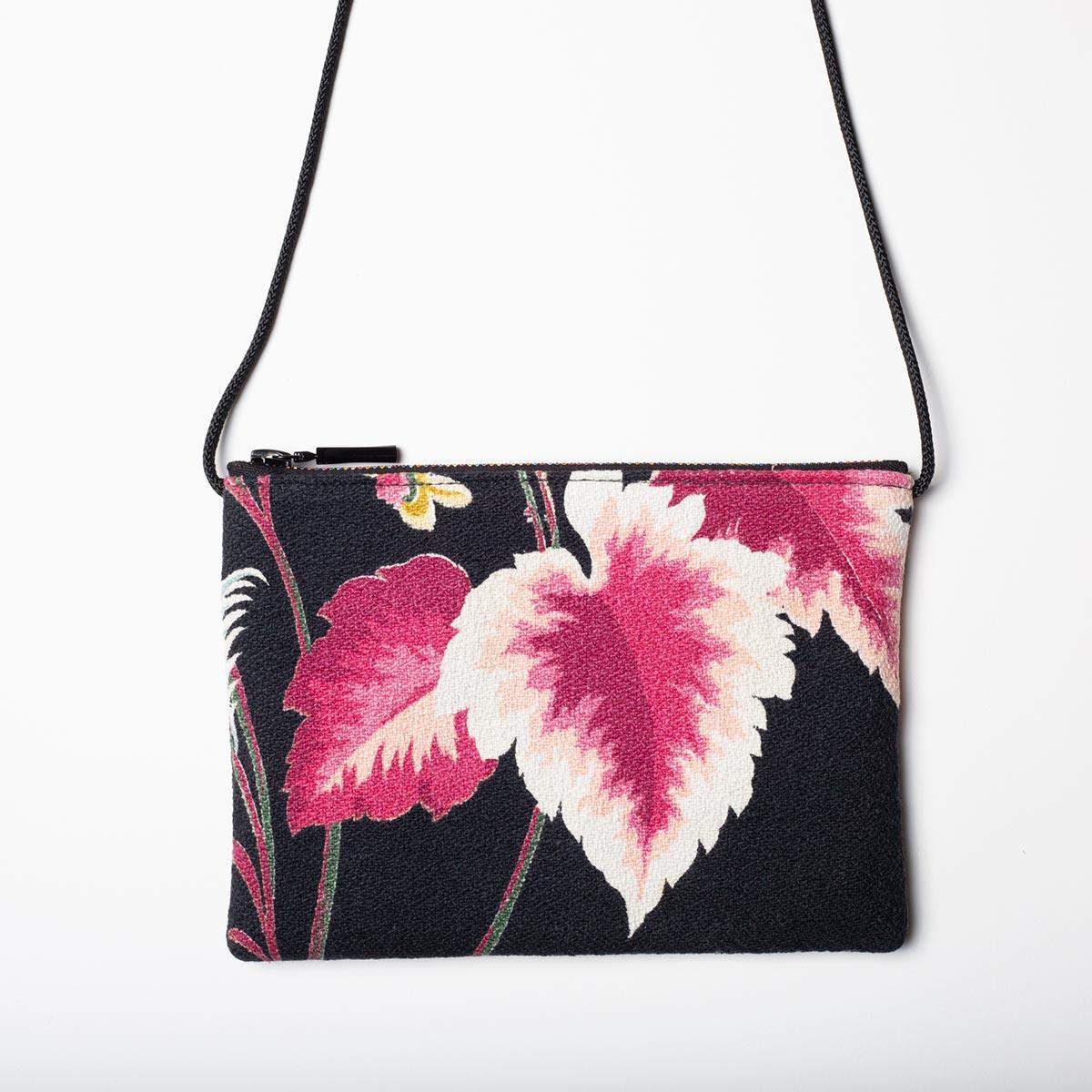 tropical leaf black vintage barkcloth bag2