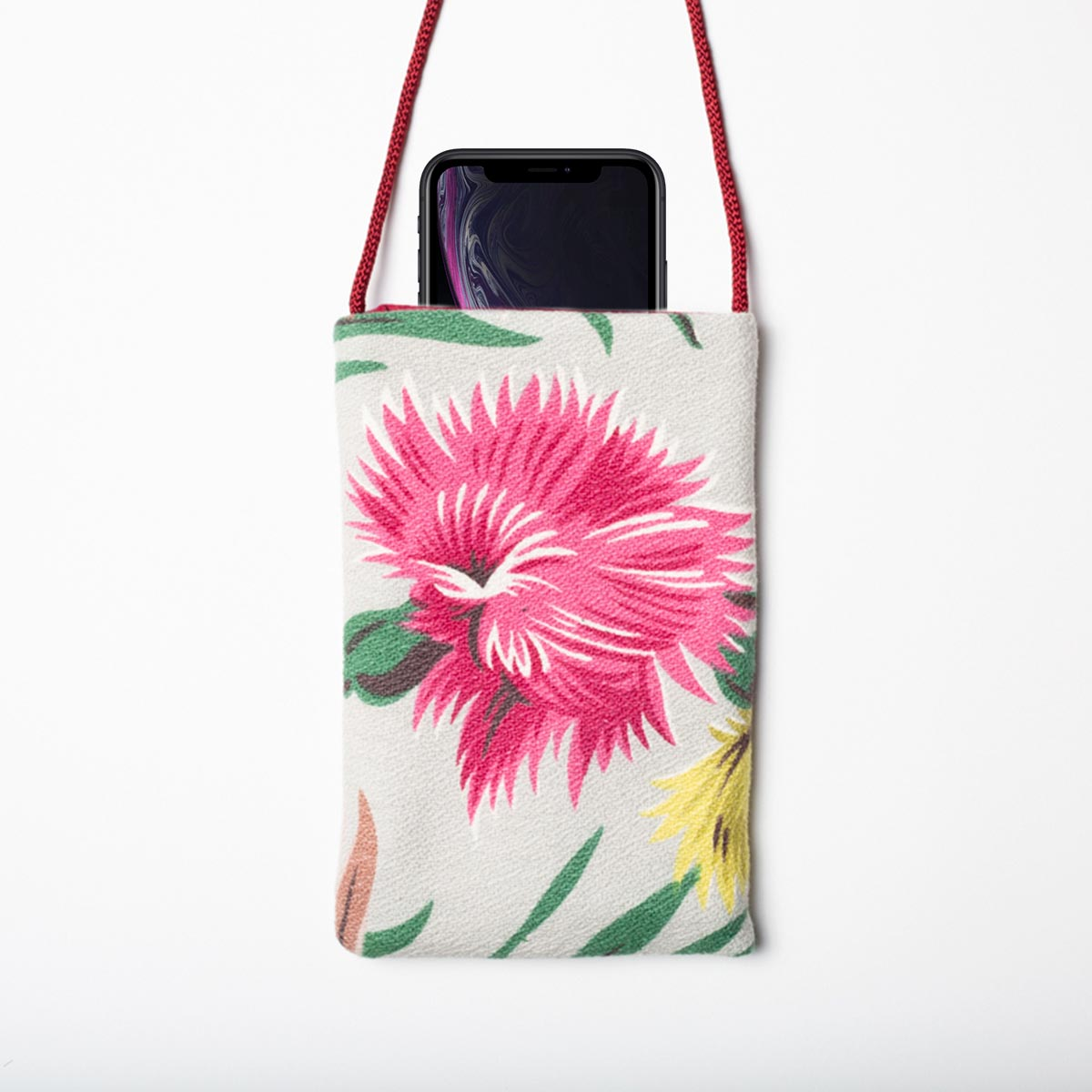 Cell Phone Bag Tropical Motif on Slate