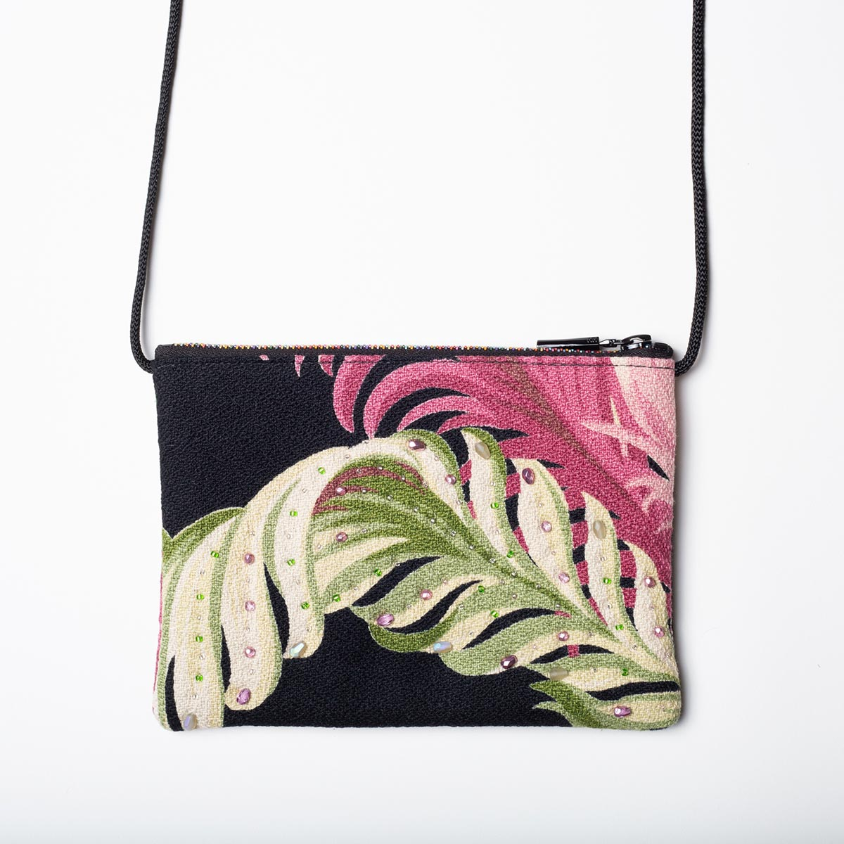 The Opera Bag – Fern Motif on Black