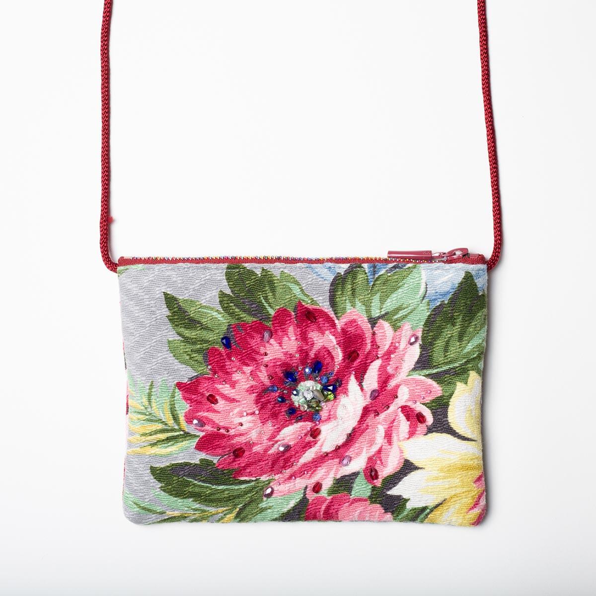 The Opera Bag – Garden Peony on Gray