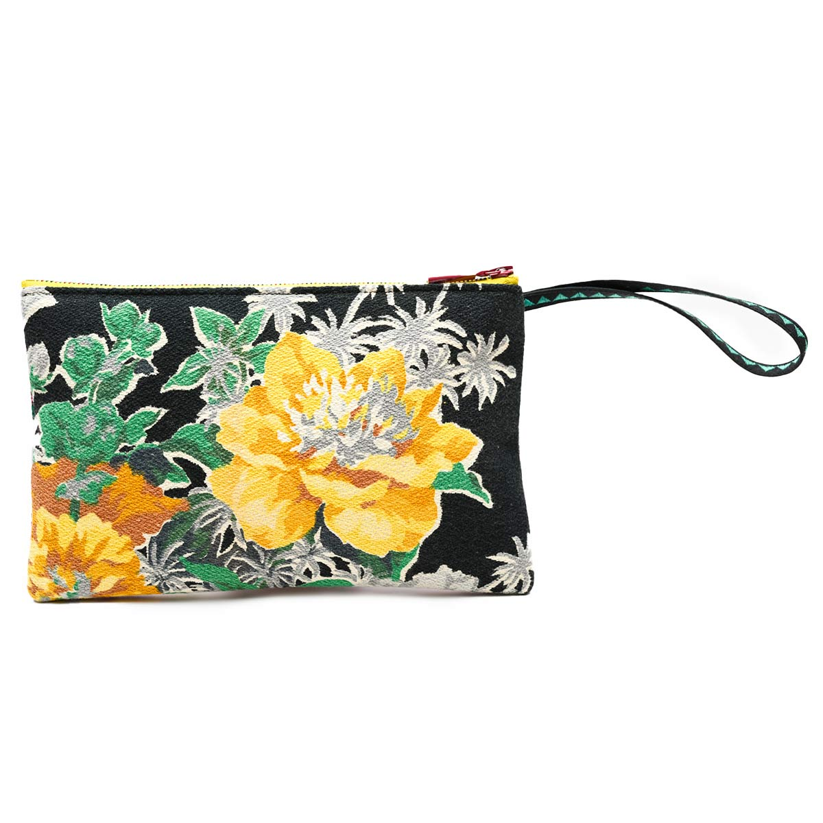 clutch bag combination floral on black and gray