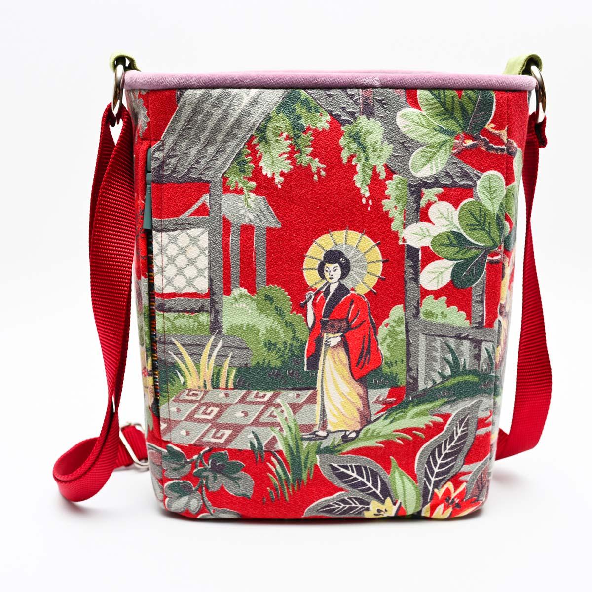 crossbody bag asian motif on red