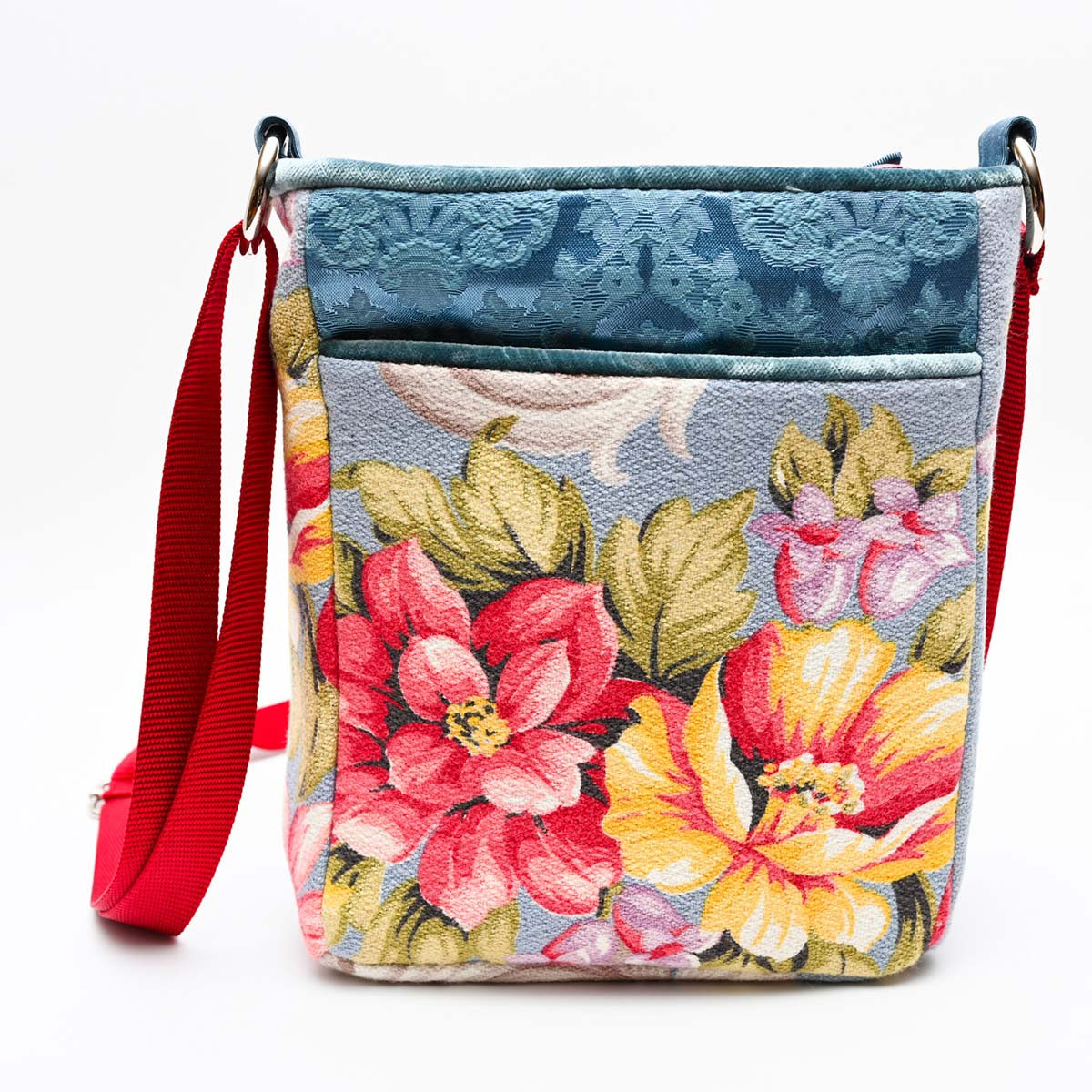 crossbody bag floral bouquet on blue