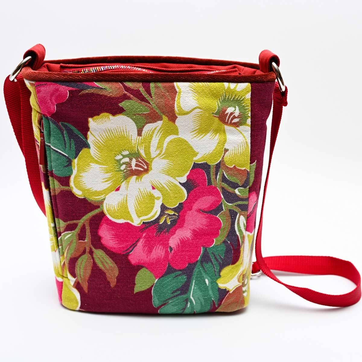 crossbody bag hibiscus on wine red