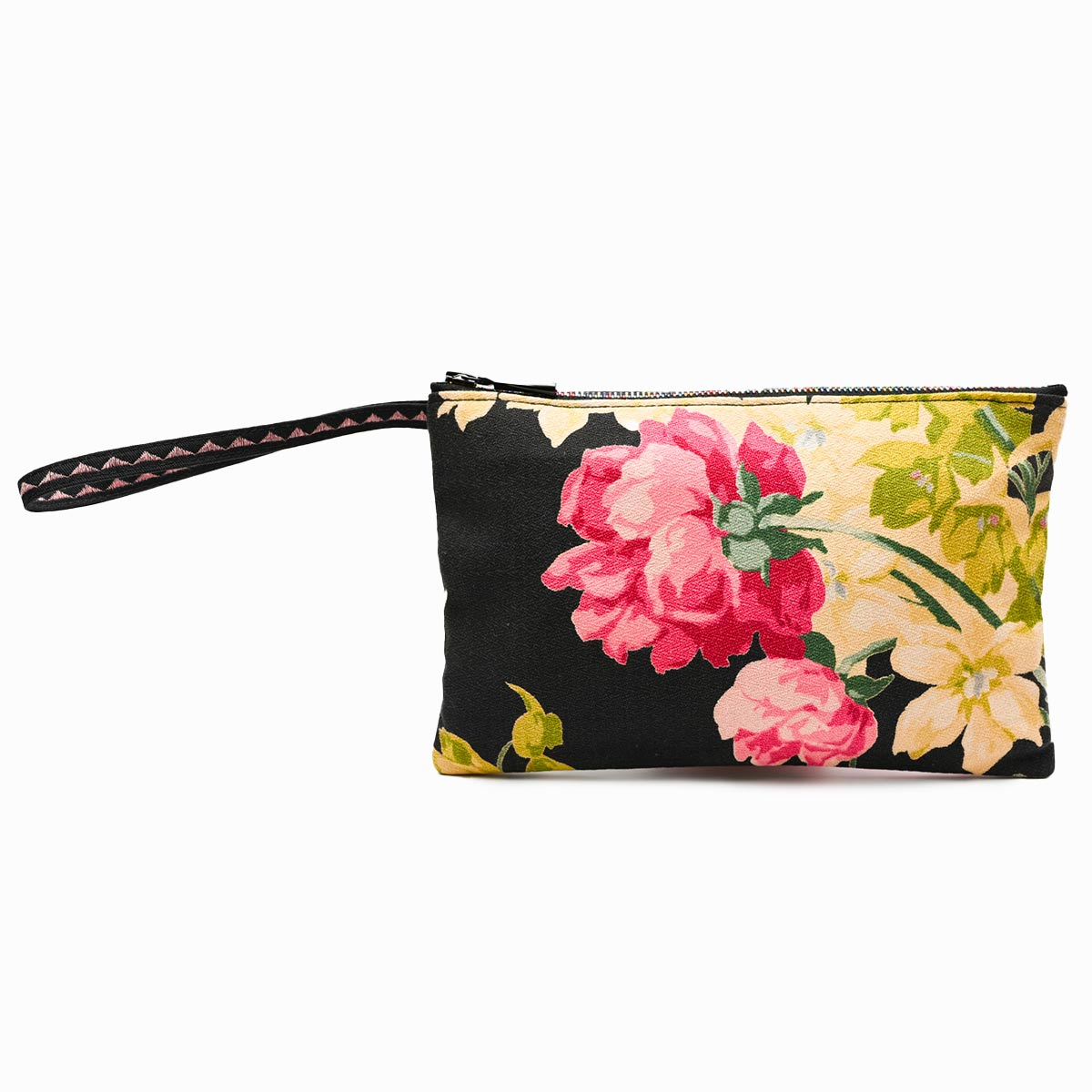 handbeaded clutch bag peonies on black
