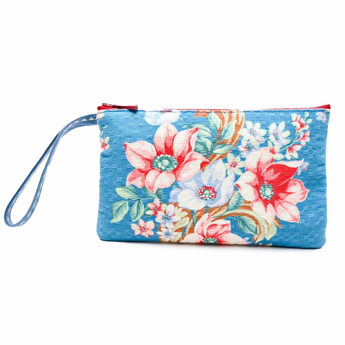 handbeaded clutch floral motif on blue