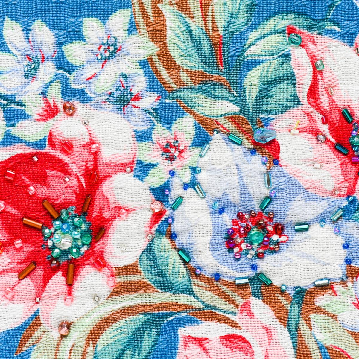 handbeaded clutch floral motif on blue