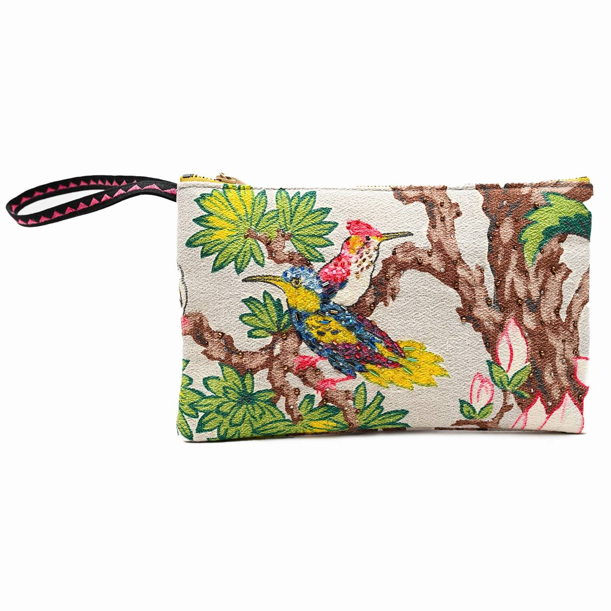 handbeaded clutch tropical birds on gray