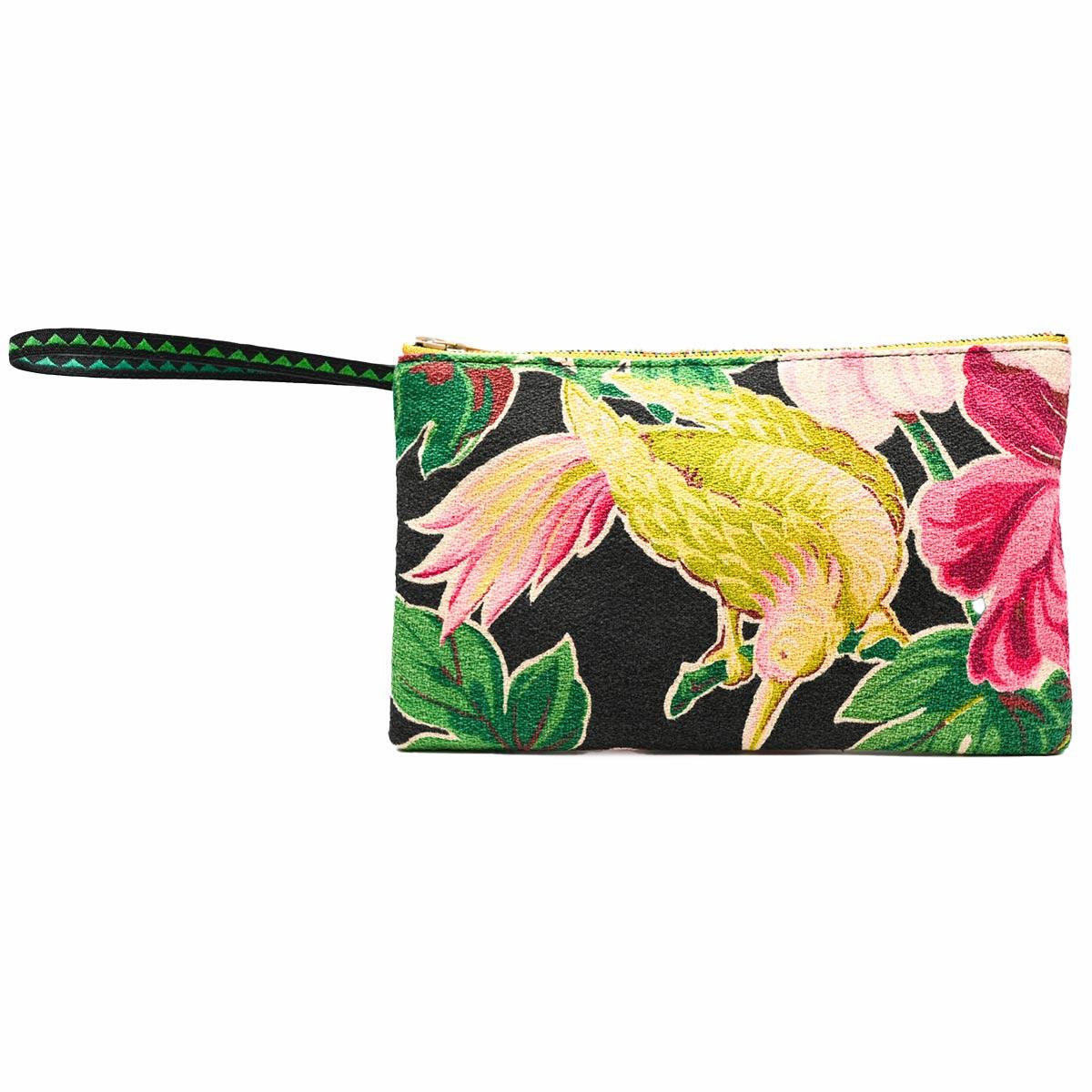 handbeaded clutch tropical motif on black