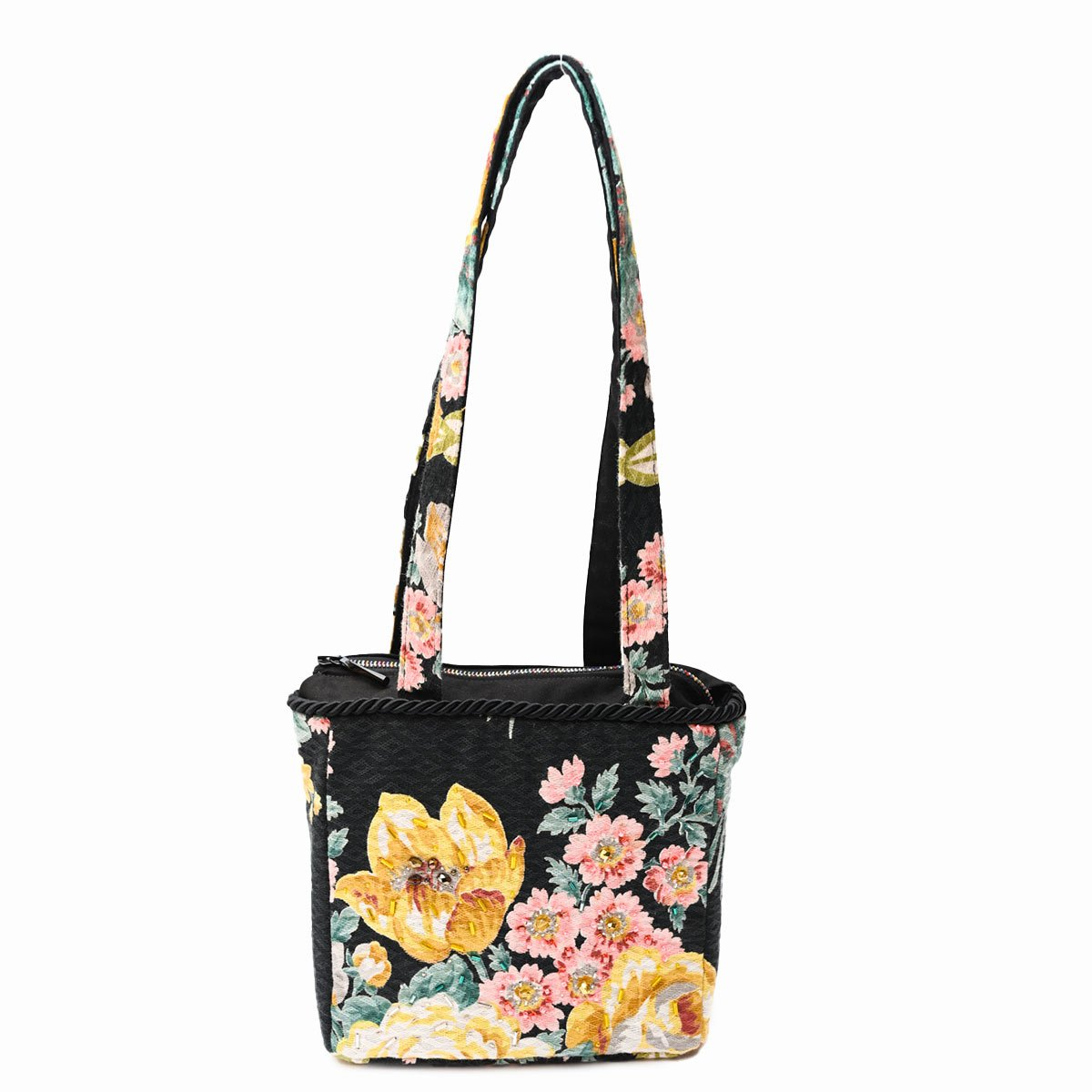 med square hand beaded floral motif on black
