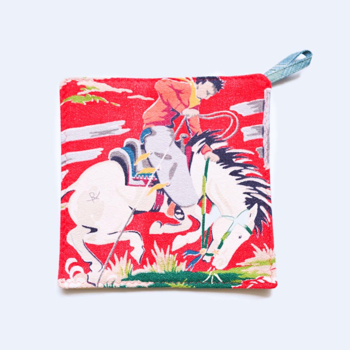 potholder cowboy motif cherry red