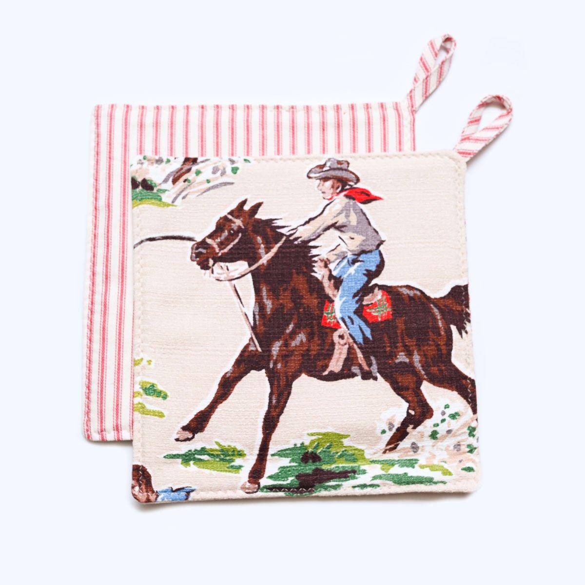 potholder cowboy motif on ecru