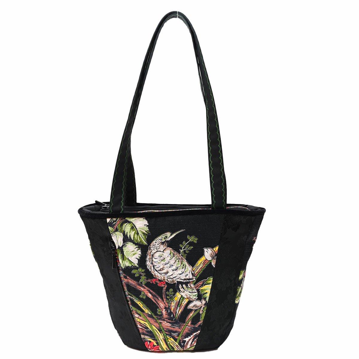tiki bag bird motif on black