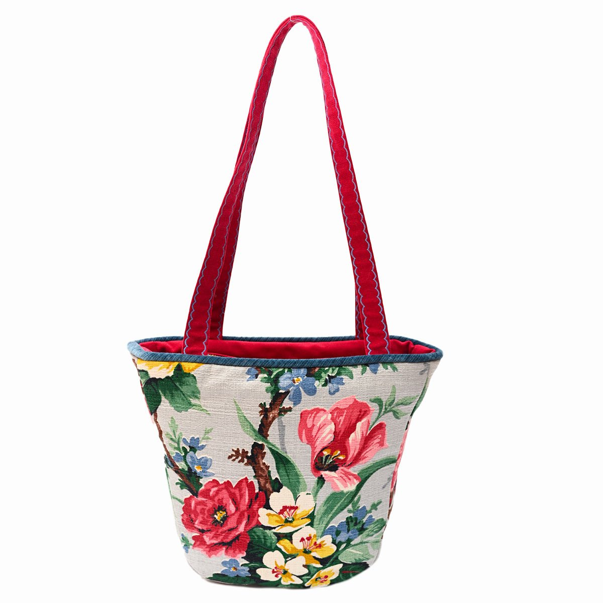 tiki bag floral motif on gray