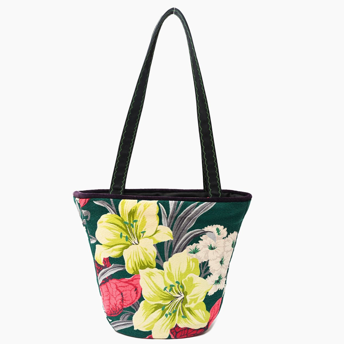 tiki bag hibiscus motif on green