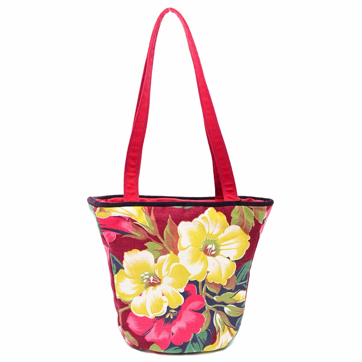 tiki bag hibiscus on wine red