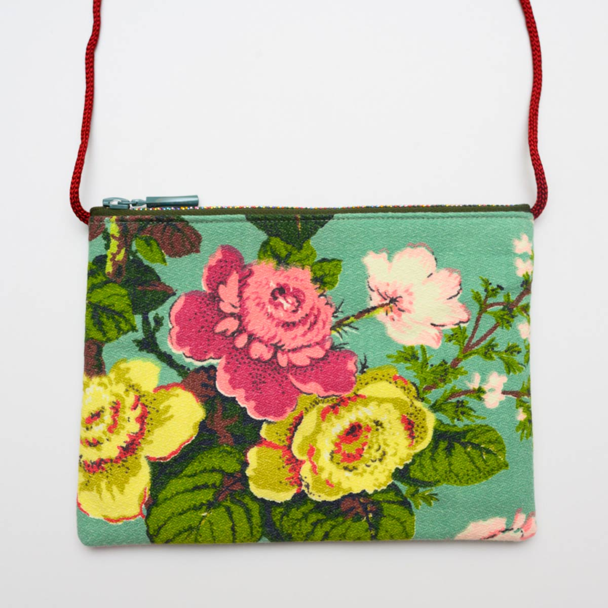 The Opera Bag – floral motif on seafoam