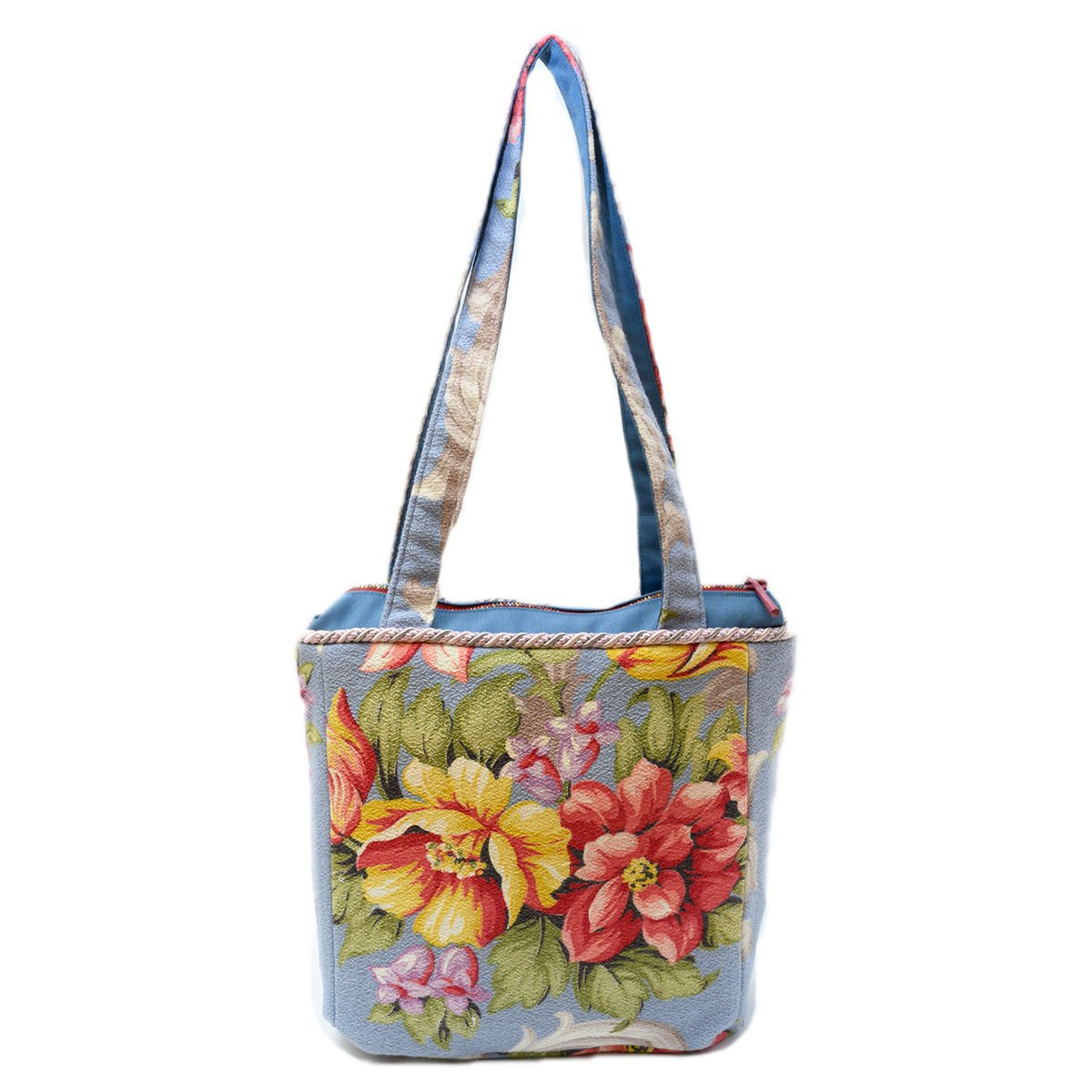 Square Bag Floral Motif on Blue