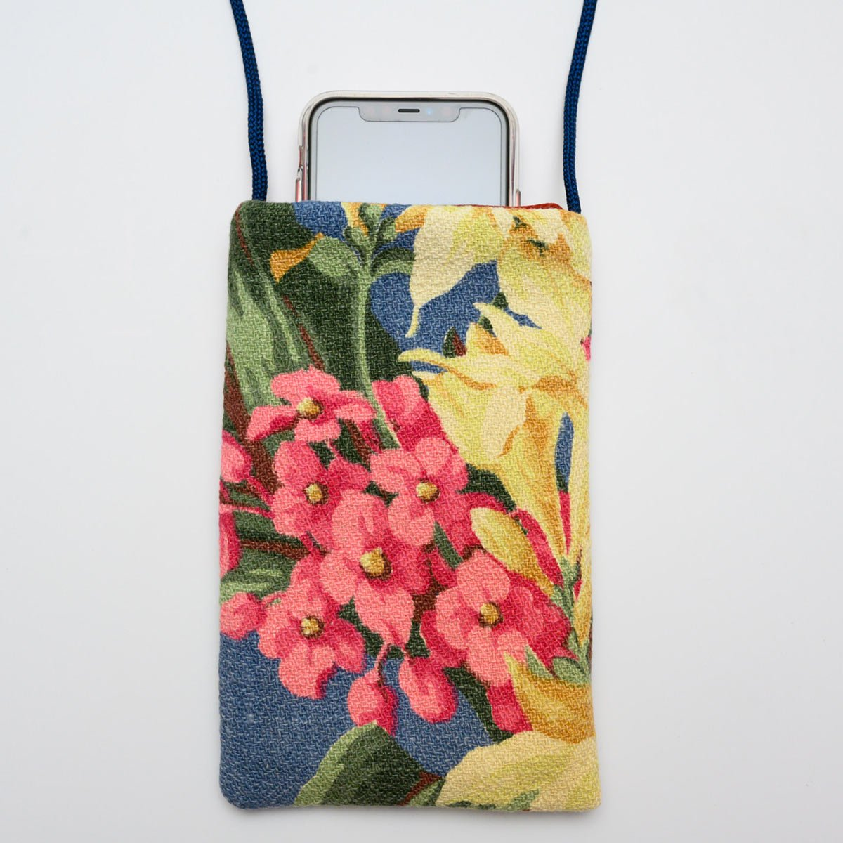 Cell Phone floral bouquet on blue