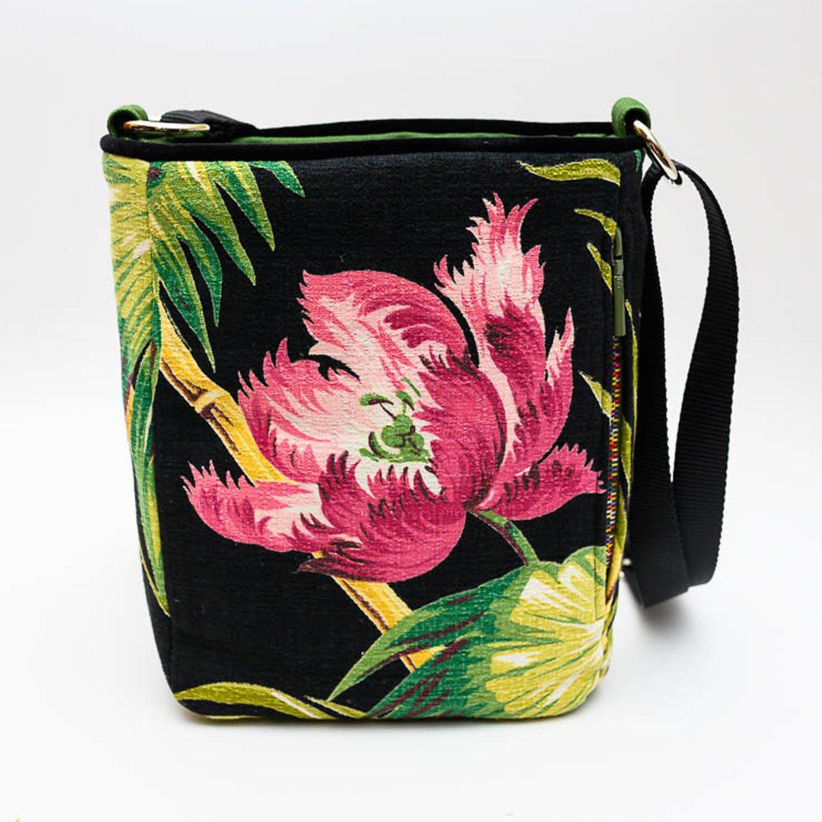Crossbody Bag – Peony on Black