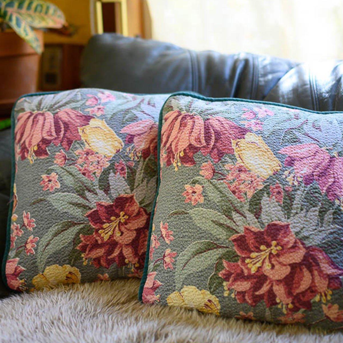 Barkcloth Pillow Pair – Floral on seafoam