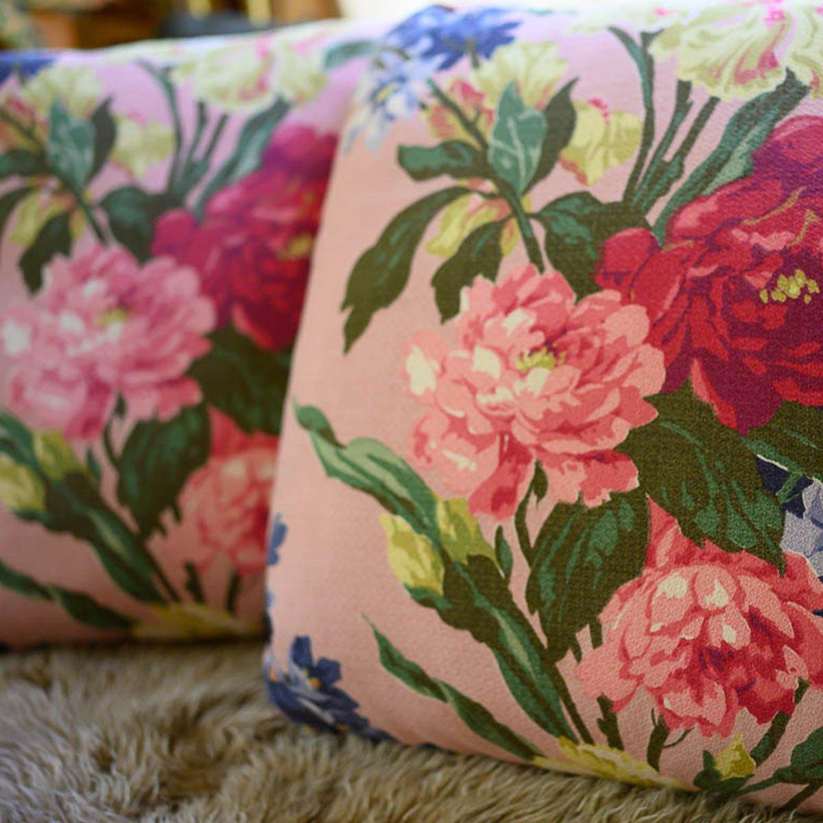 Barkcloth Pillow Pair – Floral motif on Pink