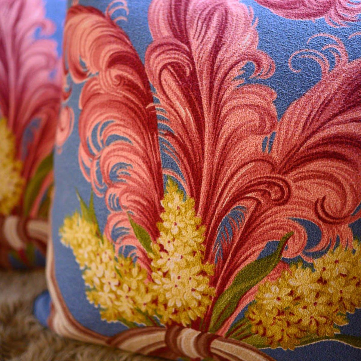 Barkcloth Pillow Pair – Plumes on Sky Blue