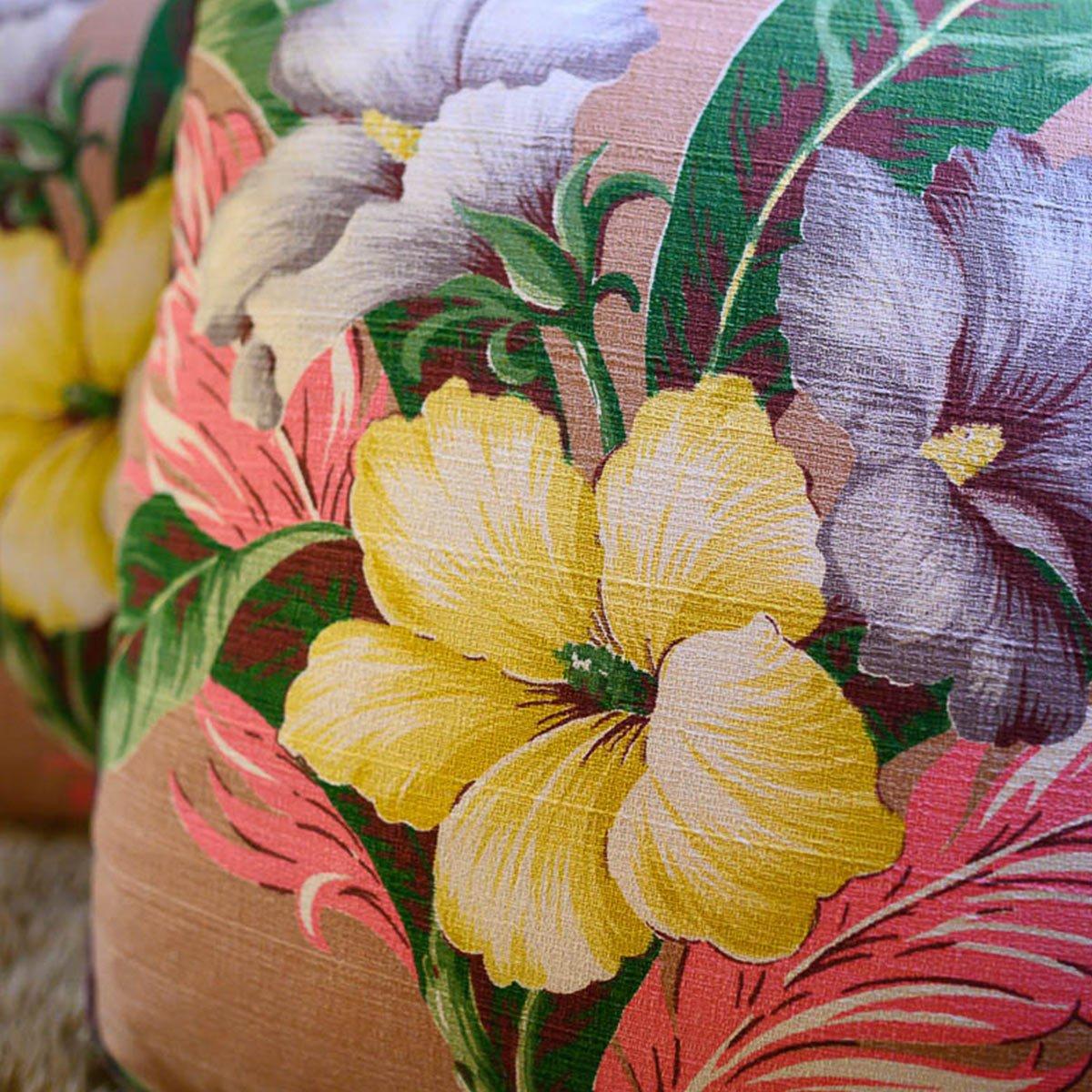 Barkcloth Pillow Pair – Hibiscus motif on taupe
