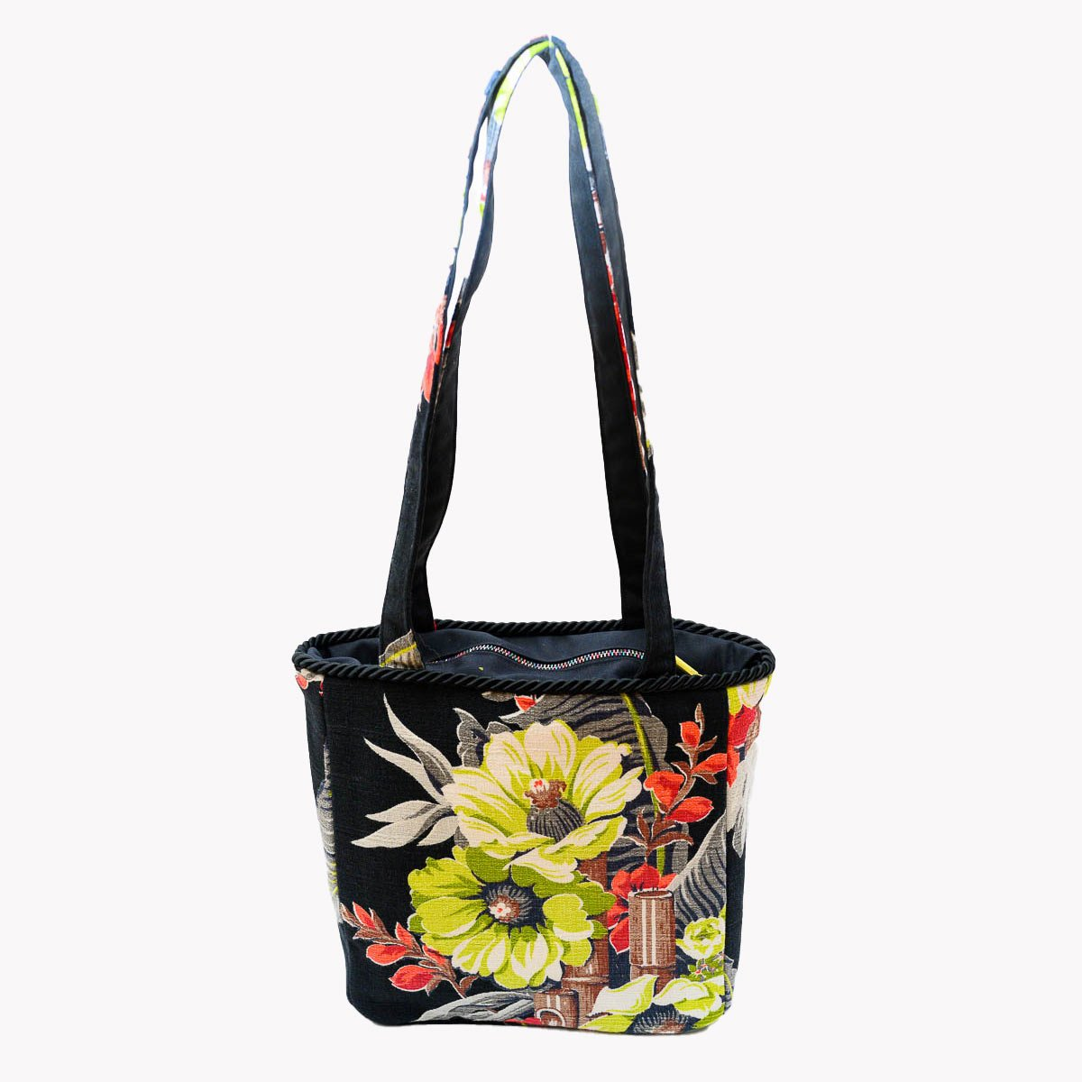 Square Bag Floral and Bamboo on Black
