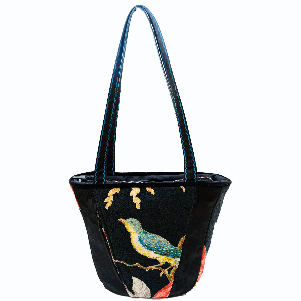 tiki bag bird motif on black