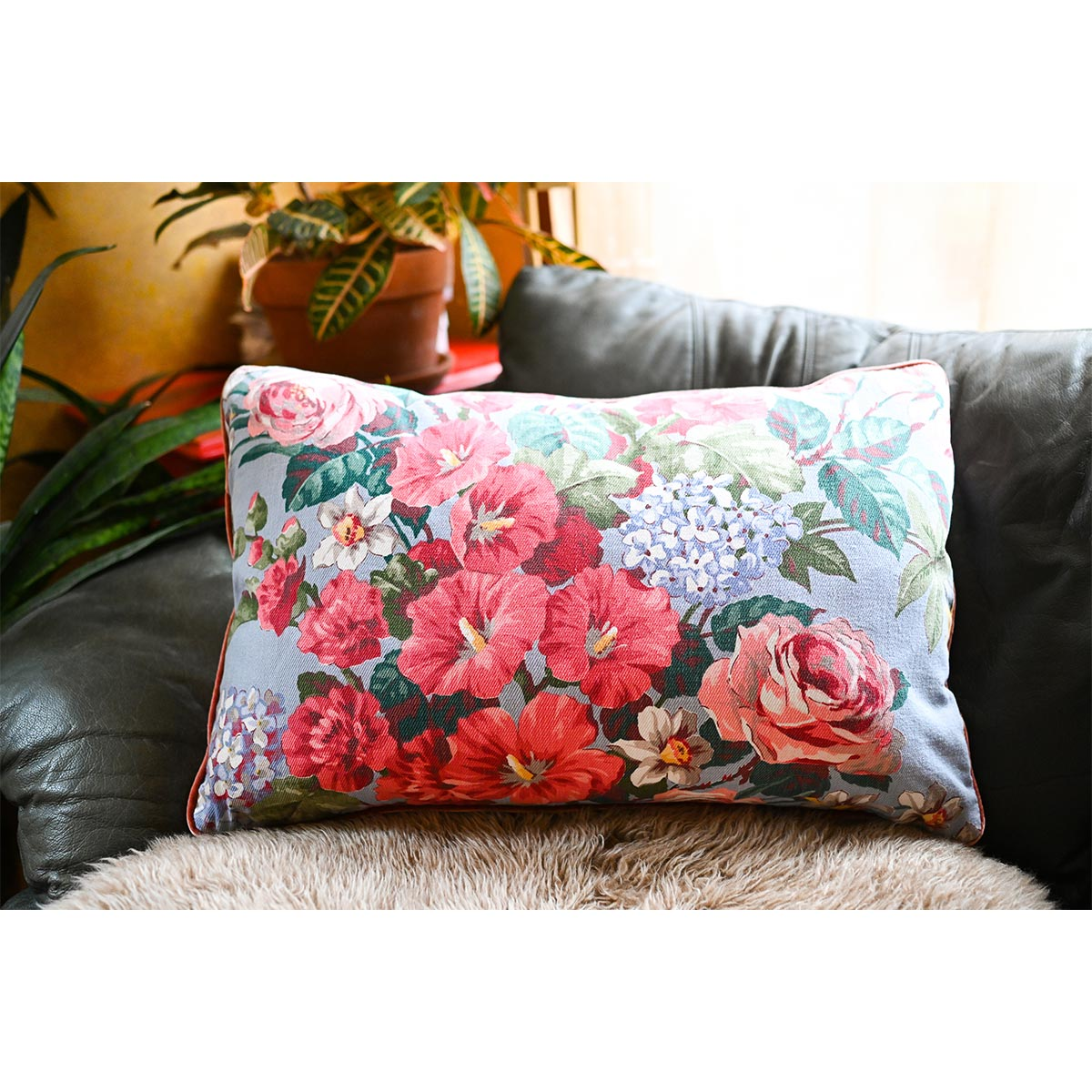 Bed Pillow Individual – Hibiscus on Blue