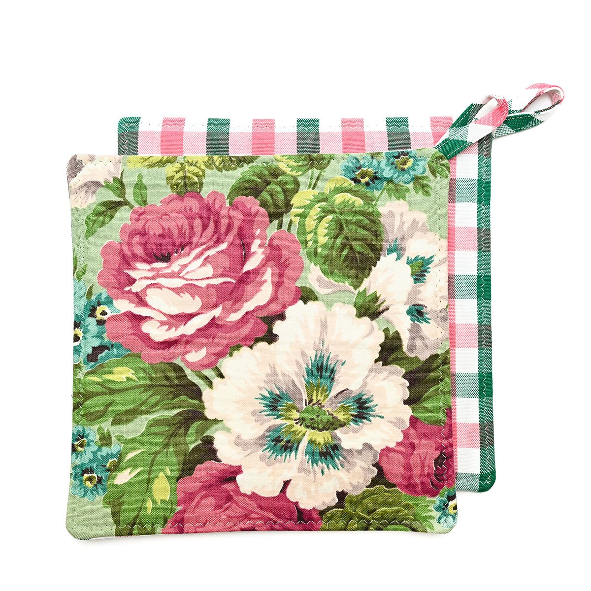 Potholders floral on mint green