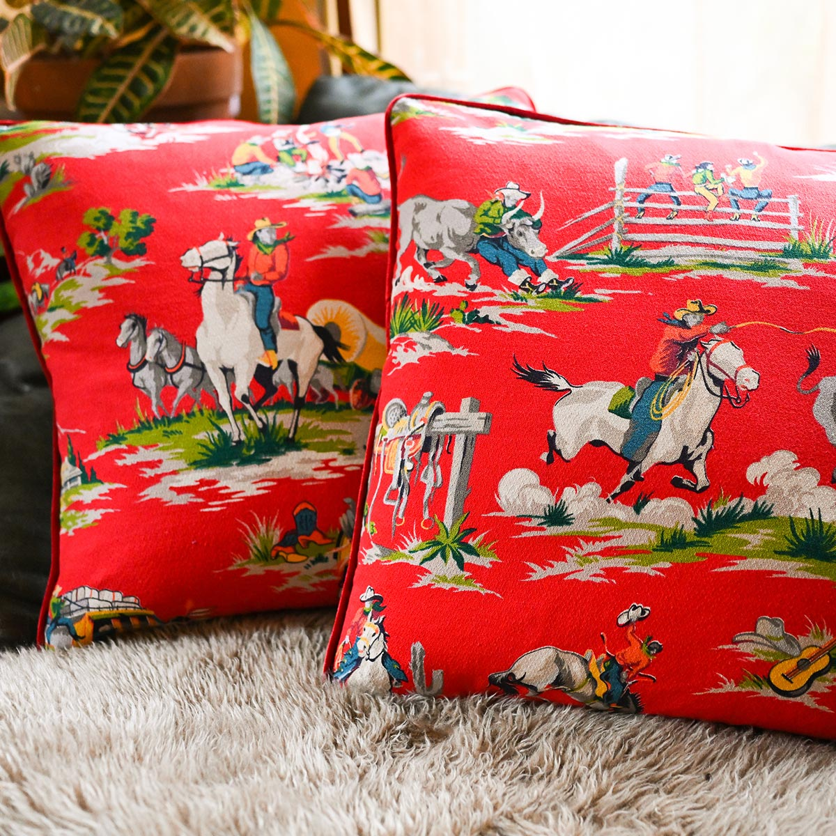 Barkcloth Pillows Pair – Extremely Rare Cowboy Motif on Cherry Red
