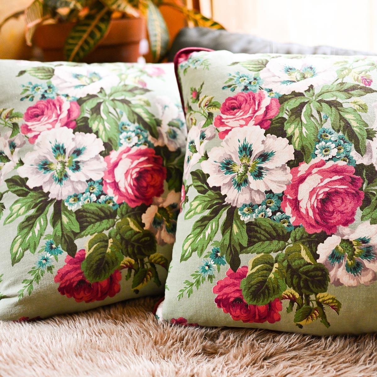 Barkcloth Pillow Pair – Floral Motif on Mint Green