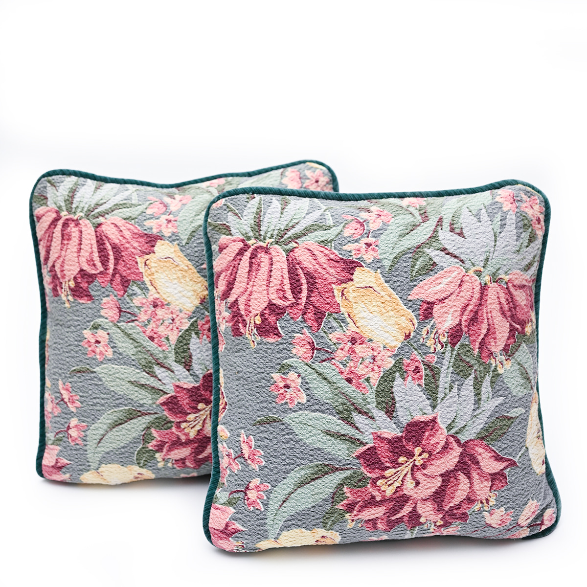 Barkcloth Pillow Pair – Floral on seafoam