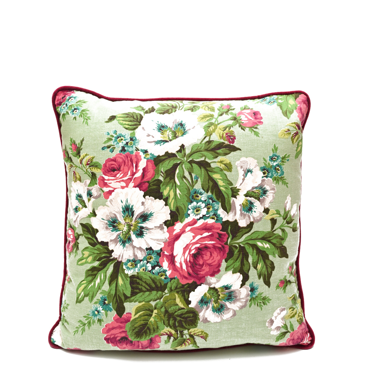 Barkcloth Pillow Pair – Floral Motif on Mint Green