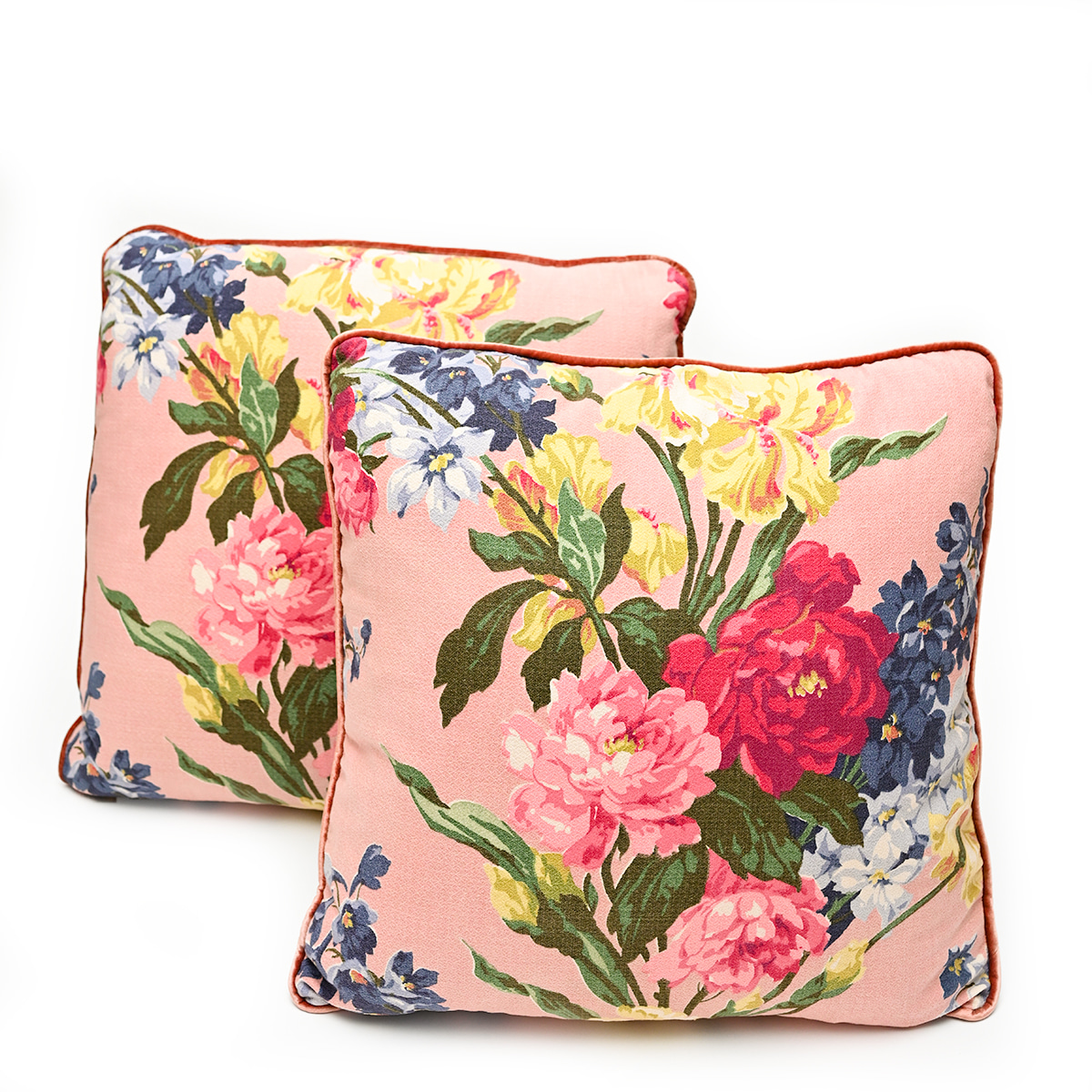 Barkcloth Pillow Pair – Floral motif on Pink