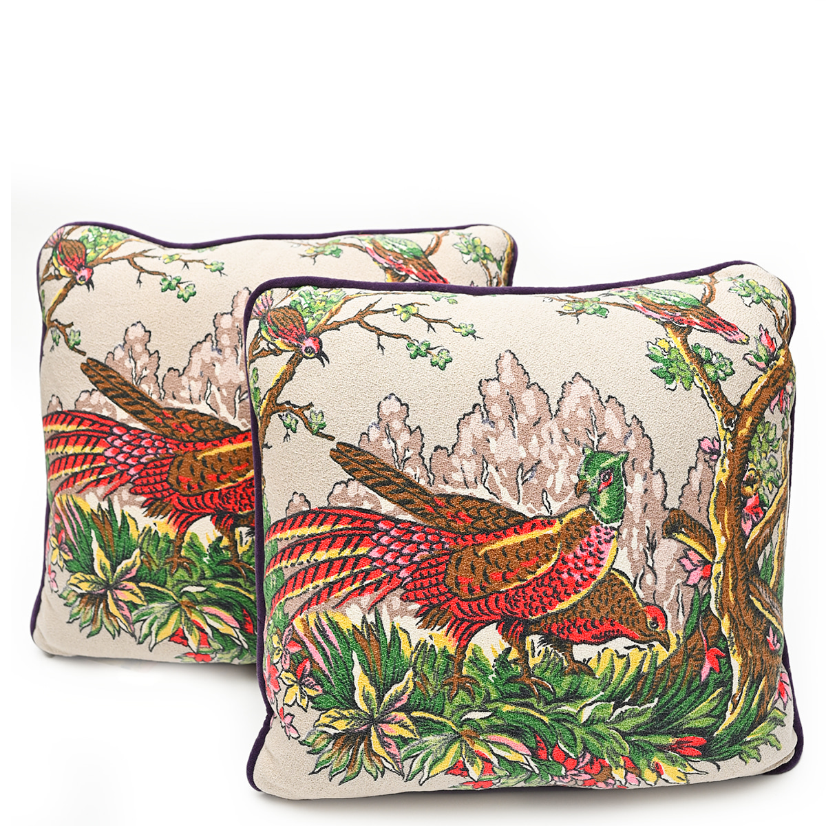 Barkcloth Pillow Pair – Pheasants