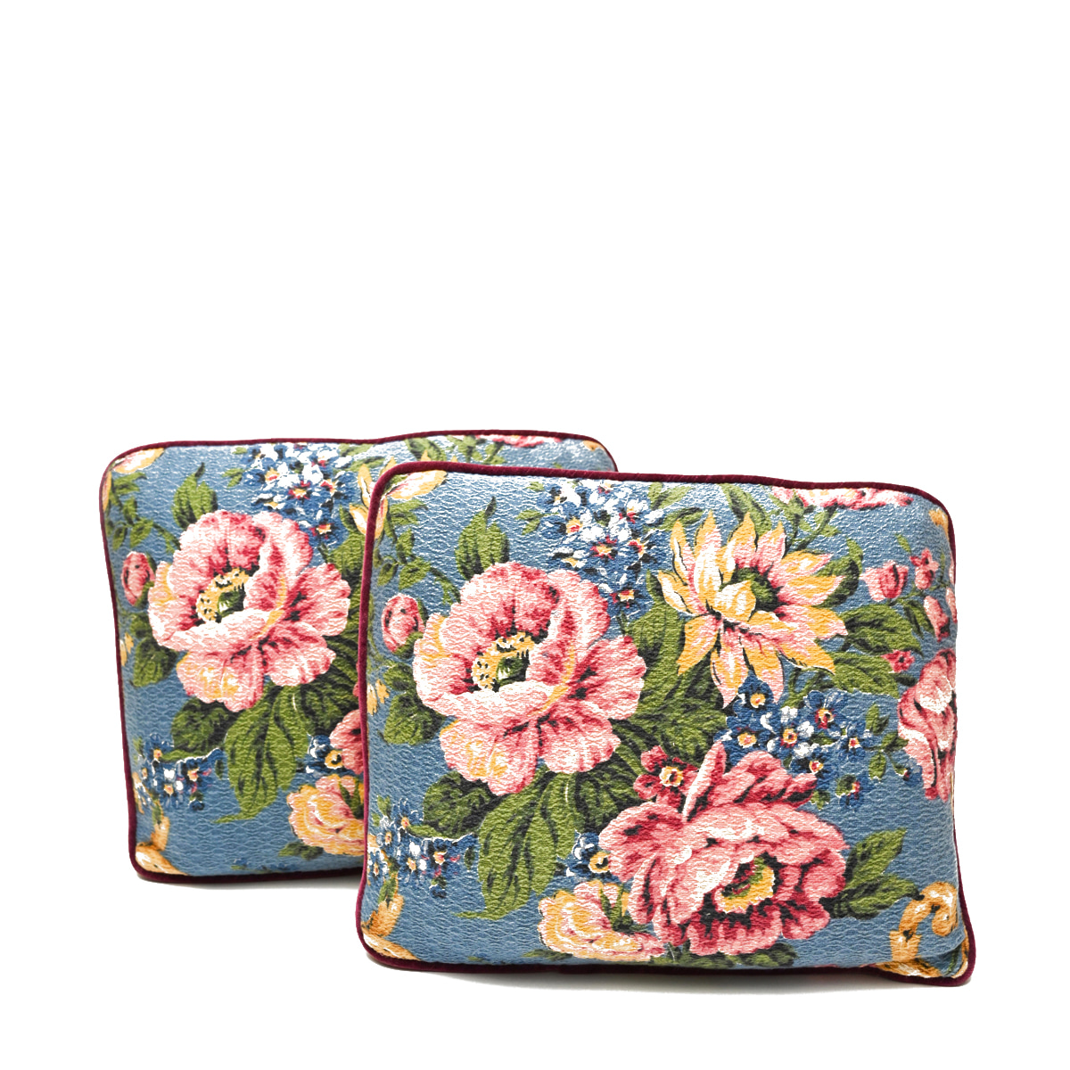 oblong pillows Pair Floral Motif on Periwinkle