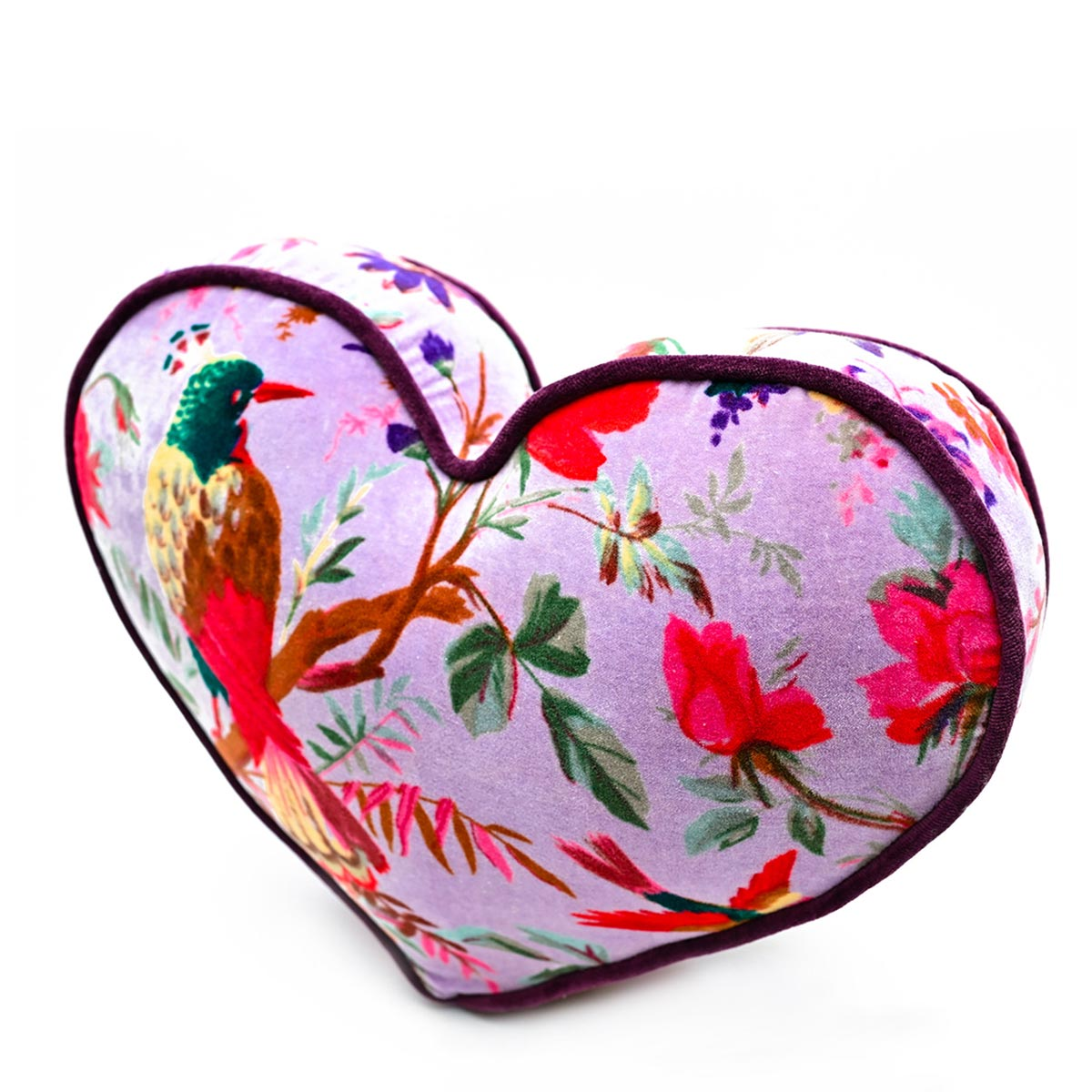 Large Heart Pillow – Bird Motif on Lavender