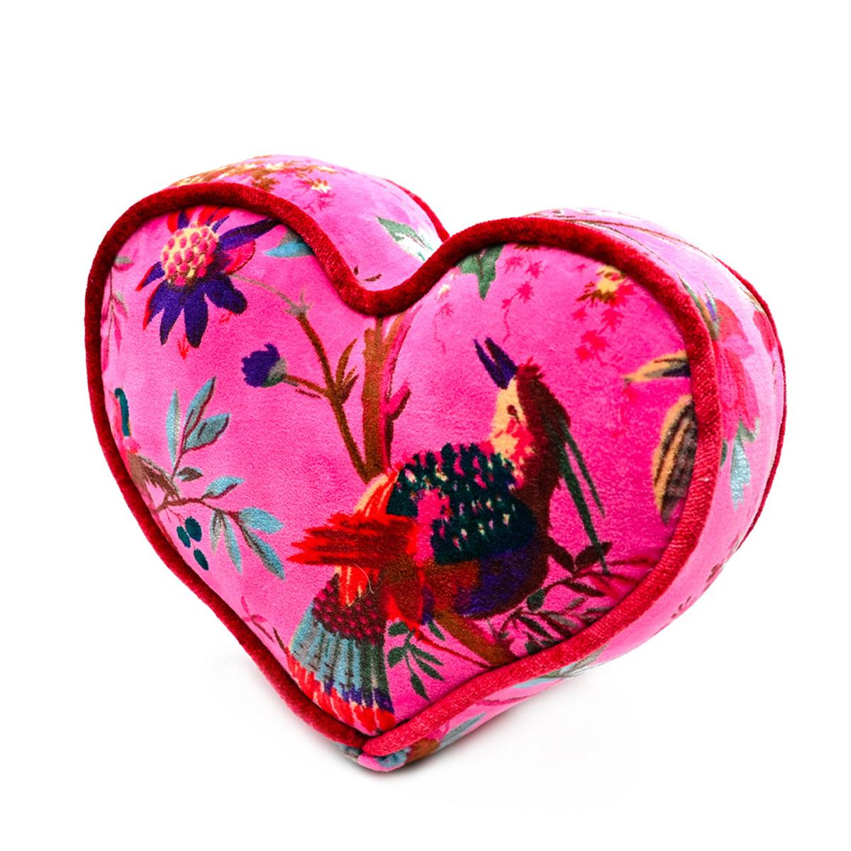 Mini Heart Pillow – Bird Motif on Pink