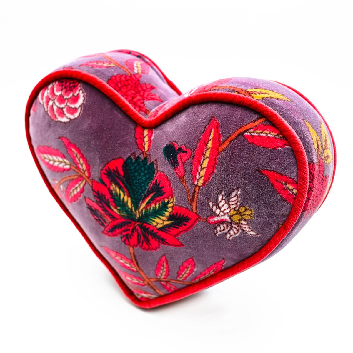 Mini Heart Pillow – Floral on Purple