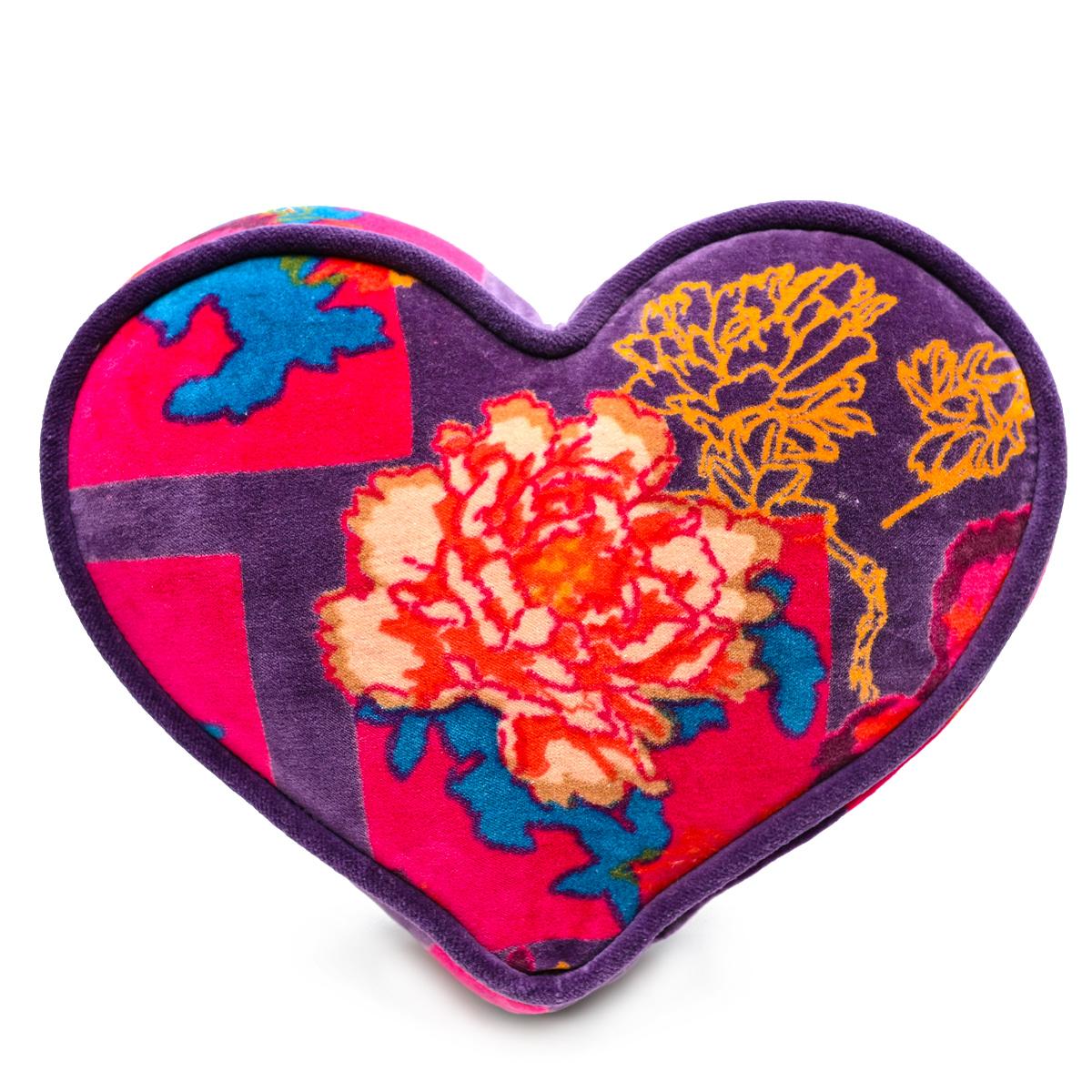 Mini Heart Pillow – Rose Motif