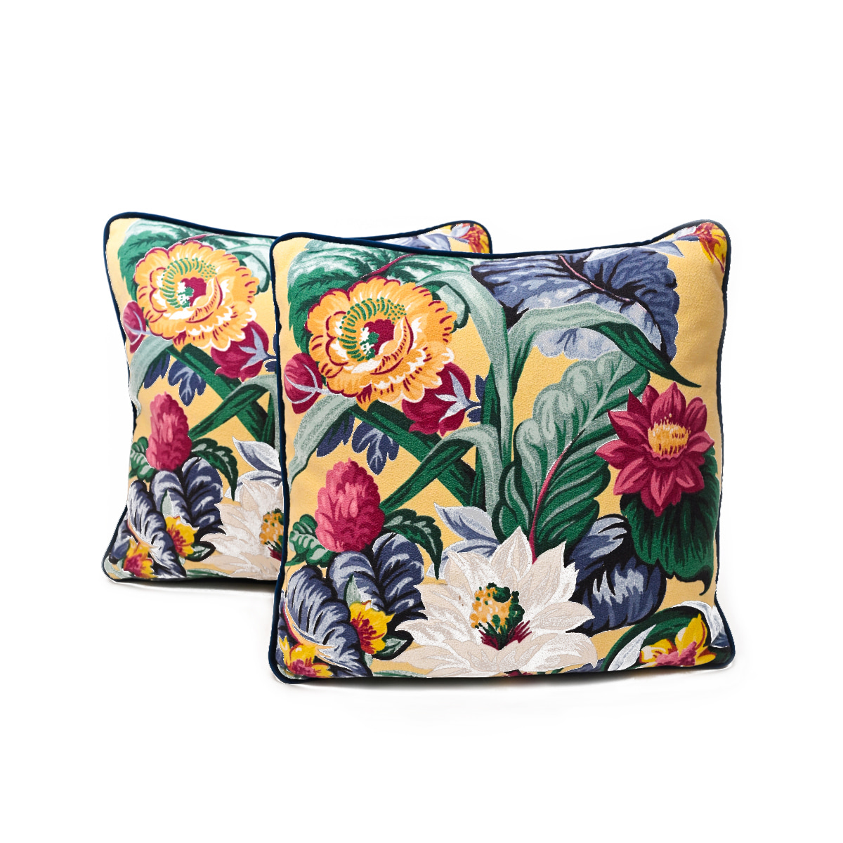 "Pair of pillows, floral motif on yellow, 19""x19"""