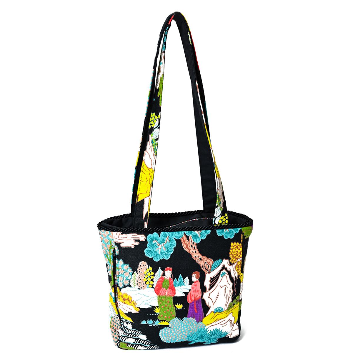 Square Bag asian motif on black