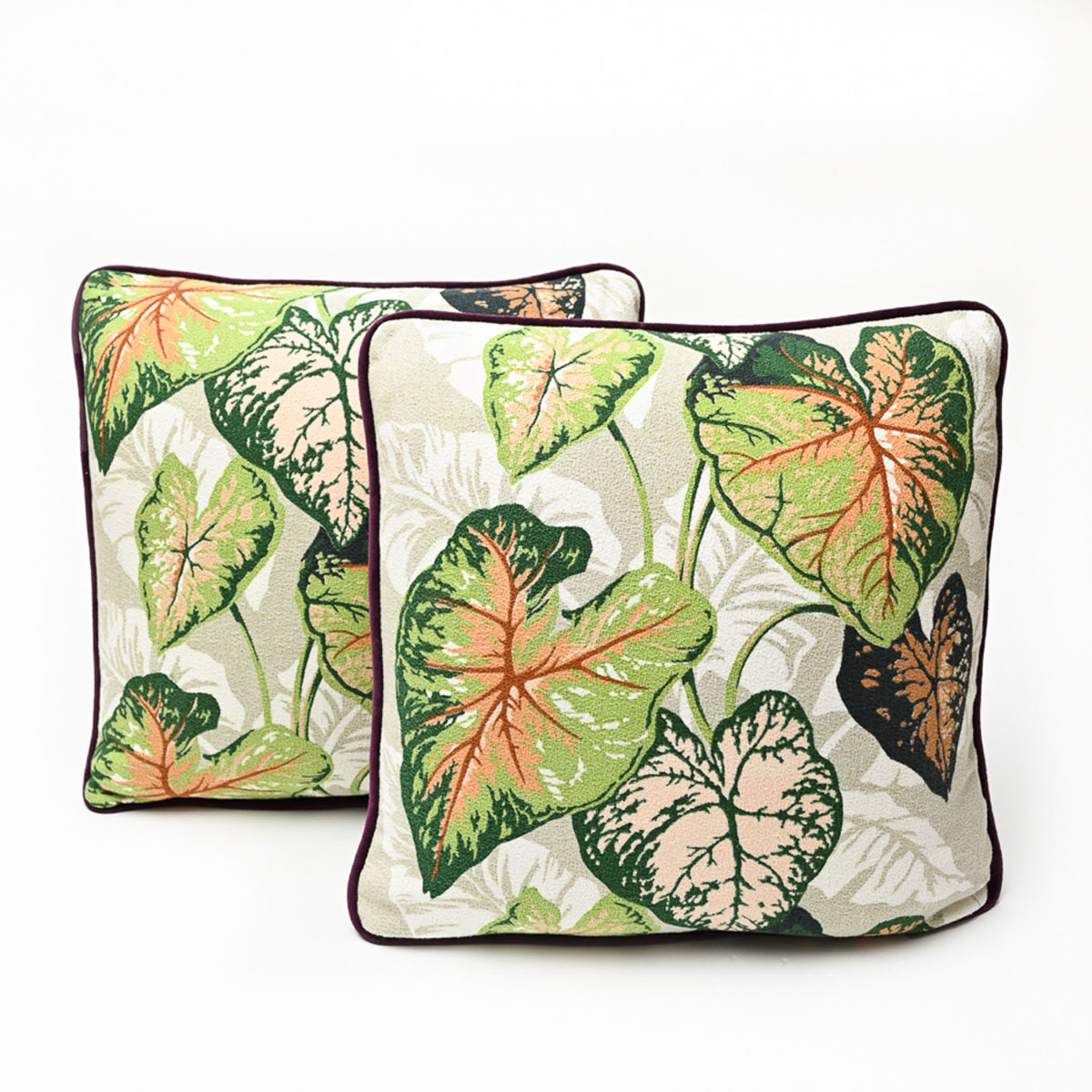 """Barkcloth pillow pair caladiums , 20"""" square"""