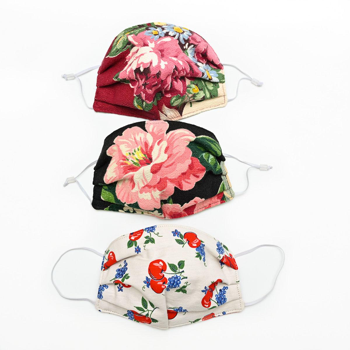 Flowers & Cherries Face Mask – Set of Three