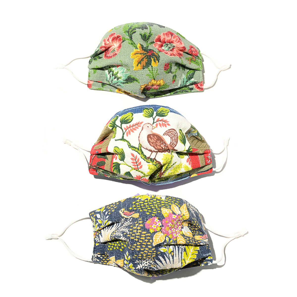 Birds and Flowers Face Masks – Set of Three