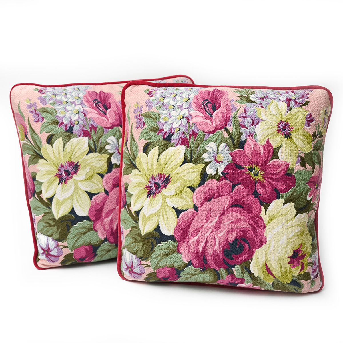 Pair Of Pillows, Floral on Ballet Pink: 18 x 18